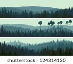 Horizontal abstract banners of hills of coniferous wood in dark green tone. - stock vector