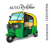 auto rickshaw india vector... | Shutterstock .eps vector #1243149346