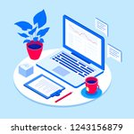 workplace with laptop   modern... | Shutterstock .eps vector #1243156879