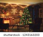 3d rendering christmas interior ... | Shutterstock . vector #1243163203
