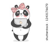 cute panda with notebook in... | Shutterstock .eps vector #1243176670