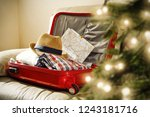christmas suitcase and...   Shutterstock . vector #1243181716