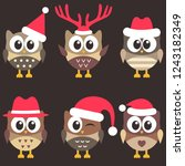 set of cute brown owls with... | Shutterstock .eps vector #1243182349