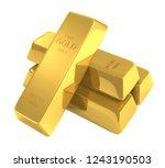 gold bars isolated on white... | Shutterstock . vector #1243190503