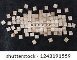 brexit concept   wood blocks... | Shutterstock . vector #1243191559