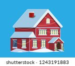 suburban house covered snow.... | Shutterstock .eps vector #1243191883