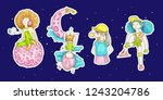 colored set of teenage girl...   Shutterstock .eps vector #1243204786
