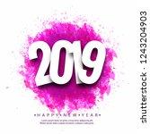 beautiful happy new year 2019... | Shutterstock .eps vector #1243204903