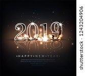 beautiful happy new year 2019... | Shutterstock .eps vector #1243204906