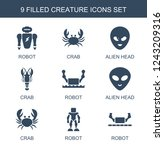 creature icons. set of 9 filled ...   Shutterstock .eps vector #1243209316