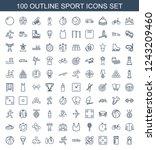 sport icons. set of 100 outline ... | Shutterstock .eps vector #1243209460