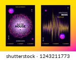 techno music poster. wave flyer ... | Shutterstock .eps vector #1243211773