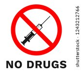no drugs sign. sticker with... | Shutterstock .eps vector #1243212766