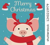 merry christmas greeting card.... | Shutterstock .eps vector #1243215979