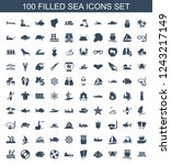 sea icons. set of 100 filled... | Shutterstock .eps vector #1243217149