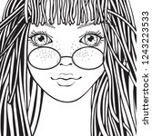 cute girl with glasses.... | Shutterstock .eps vector #1243223533