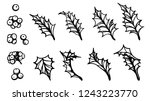 set of holly leaf silhouette on ... | Shutterstock .eps vector #1243223770