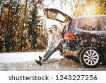 winter road with snowflakes and ... | Shutterstock . vector #1243227256