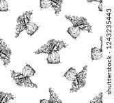 seamless pattern of hand drawn... | Shutterstock .eps vector #1243235443