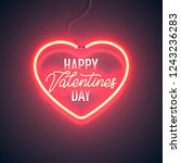 bright heart. neon sign. retro... | Shutterstock .eps vector #1243236283