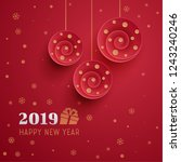 festive greeting card of red... | Shutterstock .eps vector #1243240246