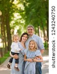 happy family with two kids... | Shutterstock . vector #1243240750