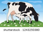 cow isolated on white  hand... | Shutterstock .eps vector #1243250380