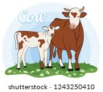 cow isolated on white  hand... | Shutterstock .eps vector #1243250410