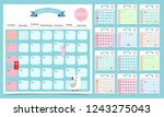 cute monthly calendar 2019 with ... | Shutterstock .eps vector #1243275043