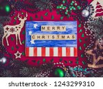 colorful christmas decoration ... | Shutterstock . vector #1243299310