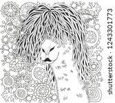 winter llama. coloring book... | Shutterstock .eps vector #1243301773