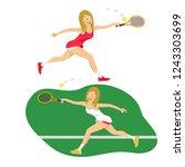 female tennis player reaching...   Shutterstock .eps vector #1243303699