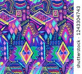ethnic doodles pattern. tribal... | Shutterstock .eps vector #1243304743