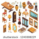 antiquarian isometric set of... | Shutterstock .eps vector #1243308229