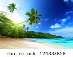 Stock photo beach in sunset time on mahe island in seychelles 124333858