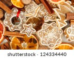 dried citrus fruits  spices and ... | Shutterstock . vector #124334440