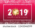 happy new year 2019 greeting... | Shutterstock .eps vector #1243346599