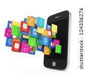 black smartphone with cloud of... | Shutterstock . vector #124336276