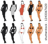set of vector silhouettes of... | Shutterstock .eps vector #1243367620