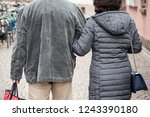 closeup of couple back entwined ... | Shutterstock . vector #1243390180
