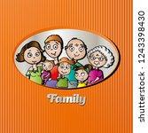 funny vector family portrait   Shutterstock .eps vector #1243398430