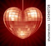 Vector Disco Heart. Red Mirror...
