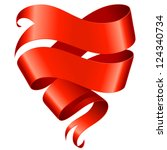 red ribbon banner in the shape... | Shutterstock .eps vector #124340734