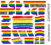 lgbt flags painted with brush... | Shutterstock .eps vector #1243407919