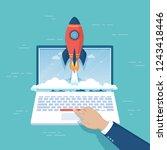 businessman hand pushing the... | Shutterstock .eps vector #1243418446