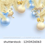 blue merry christmas and happy... | Shutterstock .eps vector #1243426063