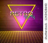 futuristic background 80s style.... | Shutterstock .eps vector #1243428640