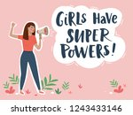 woman with megaphone vector... | Shutterstock .eps vector #1243433146