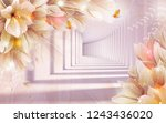 Stock photo beautiful brown flowers on decorative d background d wallpaper 1243436020