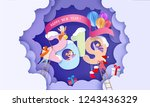 2019 new year design card with... | Shutterstock .eps vector #1243436329